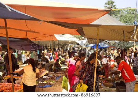 GALLE, SRI LANKA - FABRUARY 13: Traditional street market on Fabruary 13, 2011 in Galle, Sri Lanka. Street market is the component of traditional Sri Lankan culture.