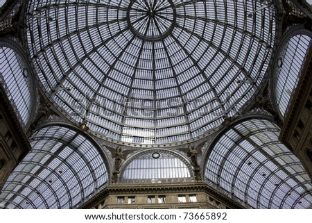Galleria Umberto  in Naples (Italy). Detail of the glass roof. It is a 19th century public gallery .