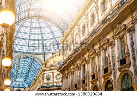 Galleria Vittorio Emanuele II glass dome in Milan Foto d'archivio ©