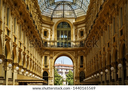 Galleria Vittorio Emanuele II interior in Milan city, Italy Foto d'archivio ©
