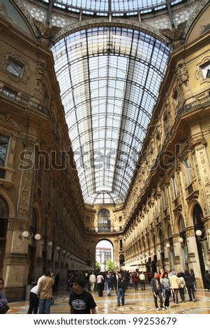 Galleria Vittorio Emanuele, Milan, Italy with people