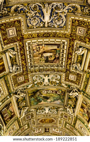 Gallery ceiling at the Vatican Museum in the Vatican City Rome Italy