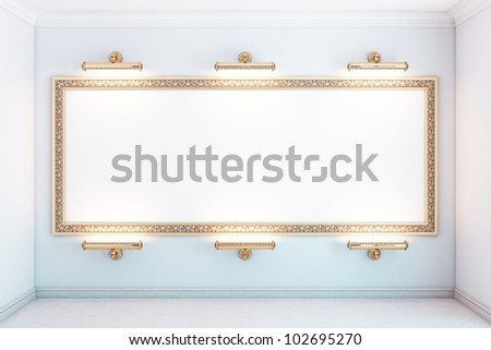 gallery interior with big golden empty frame and lighters (white version) - stock photo