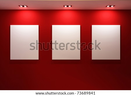 Gallery Interior with empty frames on red wall #73689841