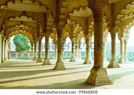 Gallery of pillars at Agra Fort. Agra, Uttar Pradesh, India