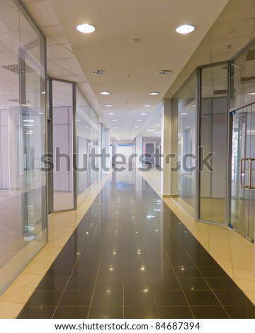 Gallery of shopping area with clear showcase