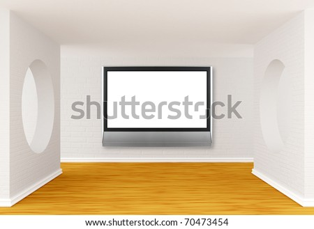 gallery's hall with lcd tv