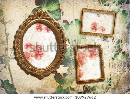 Gallery/small golden vintage frames on the wall