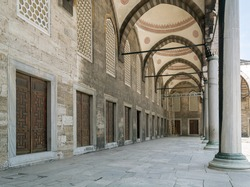 gallery with windows and arches in perspective