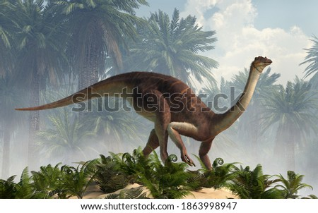 Gallimimus was a theropod dinosaur that lived during the Cretaceous period in what is now Mongolia. Here depicted with a coat of brown and white very short feathers. 3D Rendering.