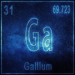 Gallium chemical element, Sign with atomic number and atomic weight, Periodic Table Element