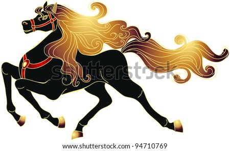 Galloping black horse with golden mane. Raster version of vector.