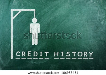 "gallows game-businessman bancruptcy on green blackboard and text ""credit history"""