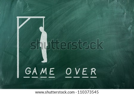 "gallows game-businessman bancruptcy on green blackboard and text ""Game Over"""