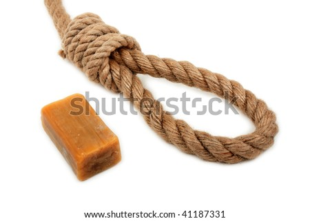 Gallows hanging rope knot tied noose and soap bar