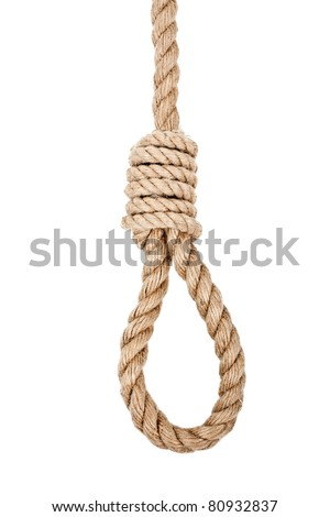 Gallows hanging rope knot tied noose white isolated
