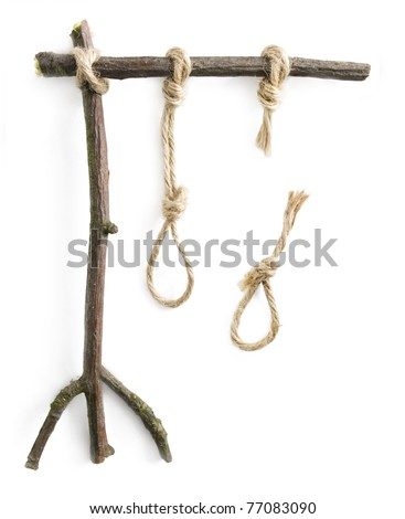 Gallows with the unbroken noose and broken noose - sign of choice, lucky etc.
