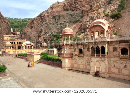 Galta Ji Mandir Temple (Monkey Temple) near Jaipur, India