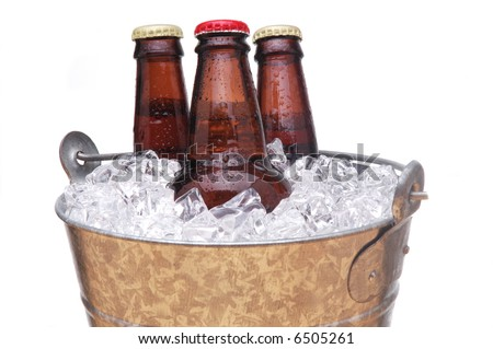 Galvanized Bucket with Three Bottles of Beer isolated over white