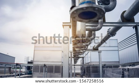 Galvanized steel pipe, Install chilled water piping, Chelled water pipe system, Welding steel pipe job. Photo stock ©