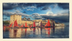 Galway hooker sail boats. Spanish arch. claddagh basin. Galway