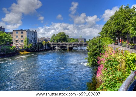 Galway, Ireland and the River Corrib.