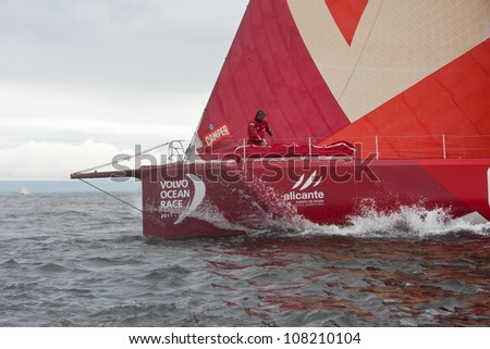 GALWAY, IRELAND - JULY 7: CAMPER with Emirates Team New Zealand, Skipper Chris Nicholson, competing in the Discover Ireland In-Port Race, during the VOR 2011-12, on July 7, 2012 in Galway, Ireland.