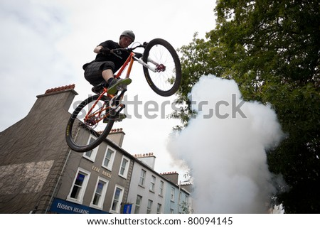 GALWAY, IRELAND - JUNE 19:BMX biker  Dan Wolfe performs in the Galway annual Bike Festival on June 19, 2011 in Galway, Ireland.