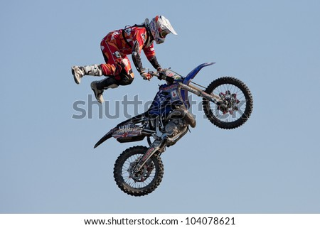 GALWAY, IRELAND - MAY 26:  Josh Grindrod freestyle motocross rider jumps through the air during The  Extreme Stunt Show on May 26, 2012 in Galway, Ireland