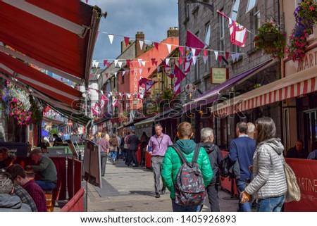 Galway / Ireland - September 1, 2015: Busy Street in Galway Ireland #1405926893