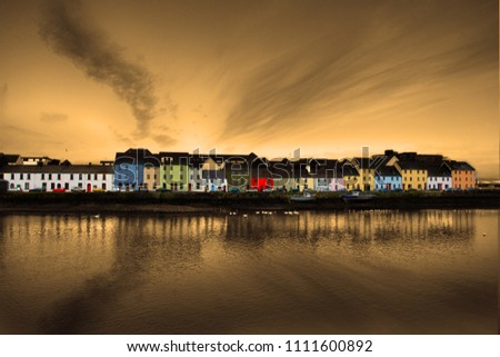Galway Ireland, the long walk, Colorful houses at the river Corrib