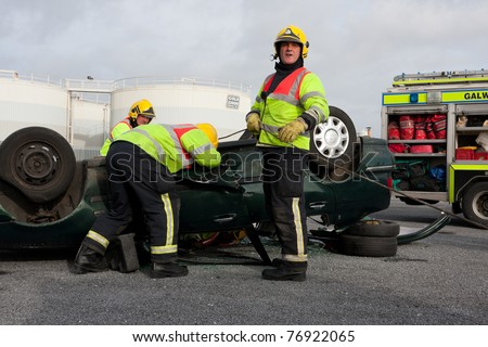 GALWAY - MARCH 9: Galway Fire and Rescue Emergency Units at car crash training on March 9, 2011 in Galway, Ireland.