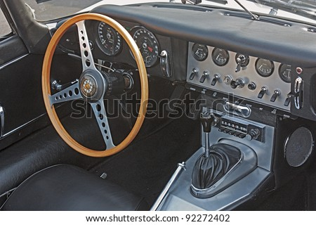 gambettola fc italy september 4 classic car interior dashboard of jaguar e type roadster. Black Bedroom Furniture Sets. Home Design Ideas