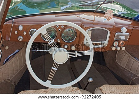 gambettola fc italy september 4 classic car interior dashboard of porsche 356 a 1952. Black Bedroom Furniture Sets. Home Design Ideas