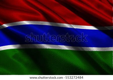 Gambia national flag 3D illustration symbol.