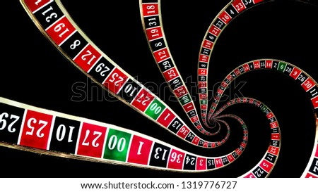 Gambling addiction and losing touch with reality concept theme with droste effect on a casino roulette wheel creating a vortex symbolizing the addict spinning out of control