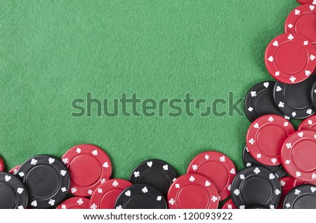 Gambling background with poker chips and copy space