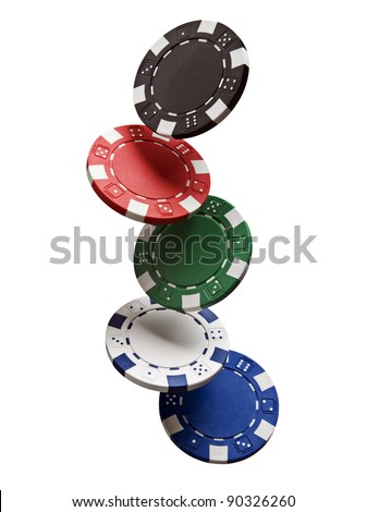 Gambling chips falling isolated on white