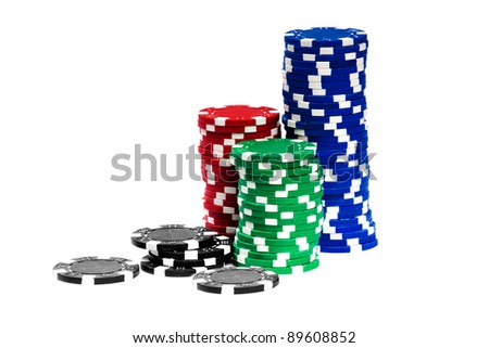 Gambling Chips Isolated over white background