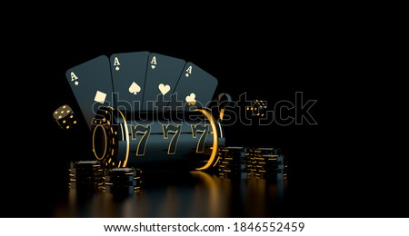 Gambling concept with playing cards, dice, casino chips, slot with neon lights. 3D rendering. Stockfoto ©
