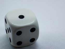 gambling dice with number one, gambling dice white background