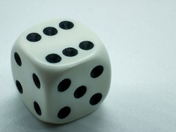 gambling dice with number six, gambling dice white background