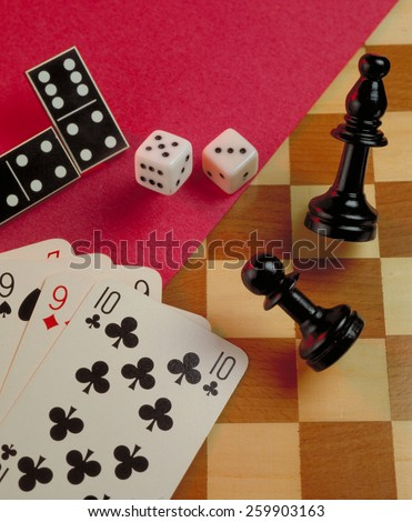 Gambling game background.Casino gambling background on a chess gaming table.