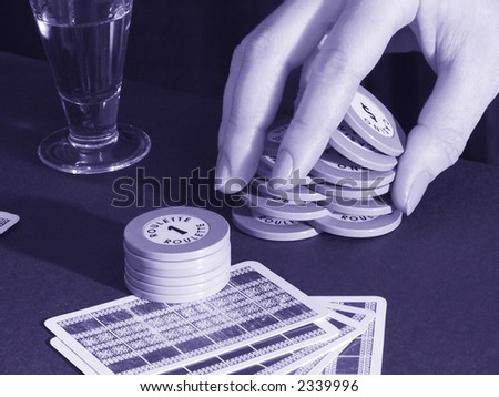 gambling game: to play roulette in the casino - stock photo