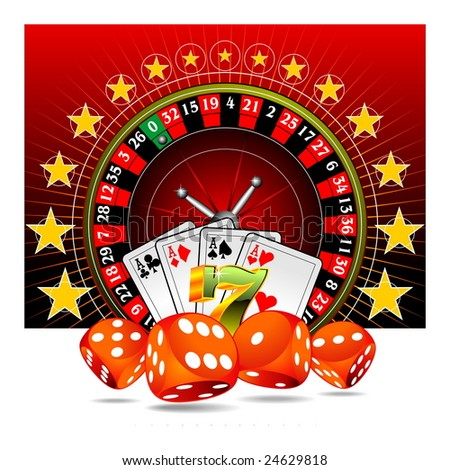 gambling illustration with casino elements on red background