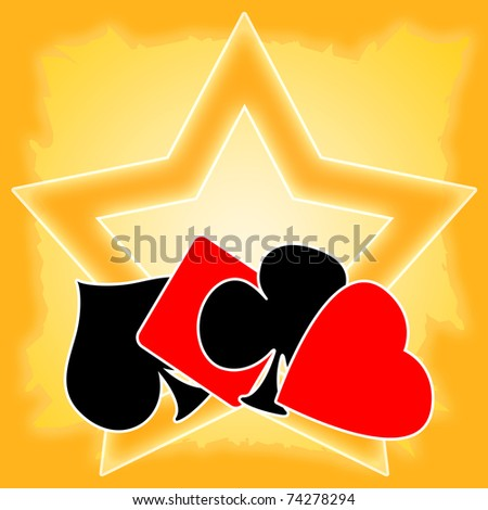 Gambling illustration with playing cards suits and golden star