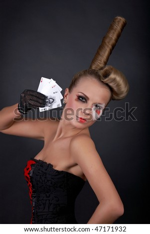 gambling sexy woman with poker cards