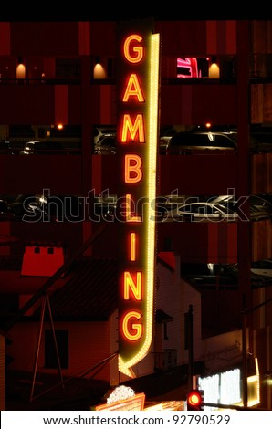 Gambling sign in outside a casino