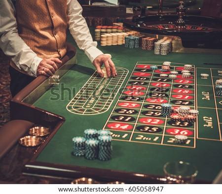 Gambling table in luxury casino.
