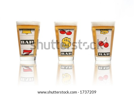 Gambling themed glasses filled with beer
